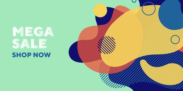 Mega verkoop abstracte banner met vloeibare elementen