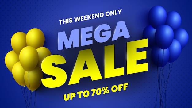 Mega verkoop banner met gele en blauwe ballonnen. illustratie.