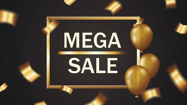 Mega verkoop banner met vallende gouden confetti en ballonnen in gouden frame op zwarte achtergrond