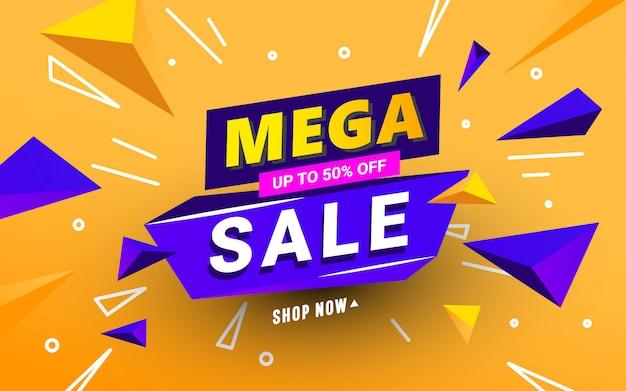 Mega verkoop banner sjabloon met veelhoekige 3d-vormen en tekst op een oranje achtergrond