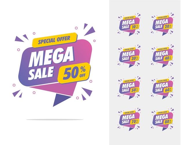 Mega verkoop korting banner promotionele sjabloon gratis vector perfect voor uw productpromotieverkoop