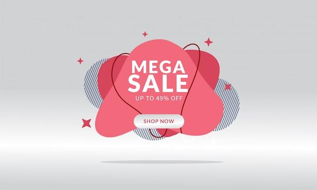 Mega verkoop korting banner sjabloon promotie