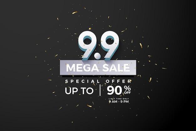 Mega verkoop met 3d-nummer op zwarte achtergrond