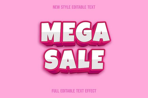 Mega-verkoop met teksteffect met kleur wit en roze