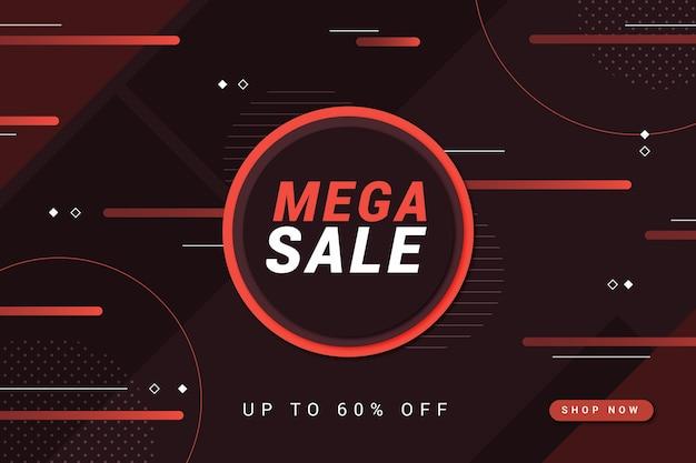 Mega verkoop rode cirkel en lijnen donkere achtergrond