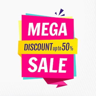 Mega verkoop, sjabloon voor spandoek. korting tot 50%. illustratie