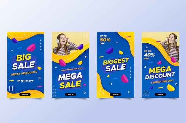 Mega-verkoop social media-verhalen met korting