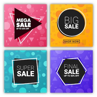 Mega verkoop vierkante banner op memphis stijl met geometrisch ontwerp set