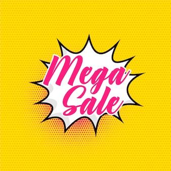 Mega verkoopachtergrond in grappige stijl