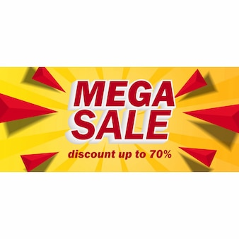 Mega-verkoopbanner met gele achtergrond