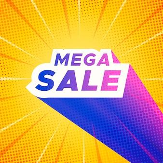 Mega-verkoopbanner met gele komische zoomachtergrond