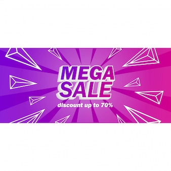 Mega-verkoopbanner met purpere achtergrond
