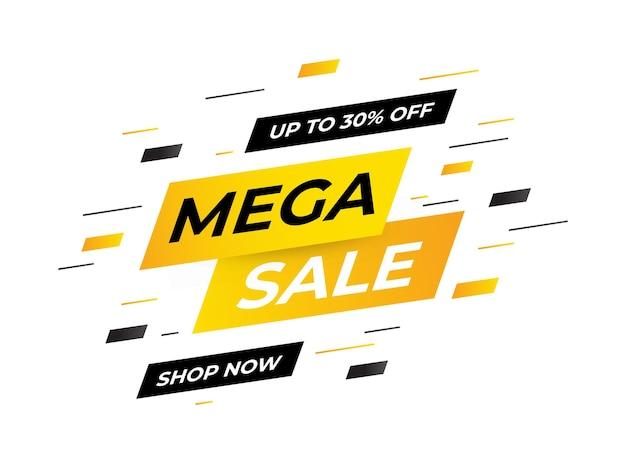 Mega verkoopconcept, sjabloon, banner. sjabloonontwerp voor verkoopbanner, speciale aanbieding voor grote verkoop einde van seizoensverkoopbanner. vector, illustratie. eps 10