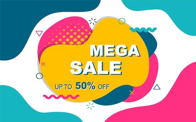 Mega verkoopsjabloon met geometrische elementen in de stijl van memphis