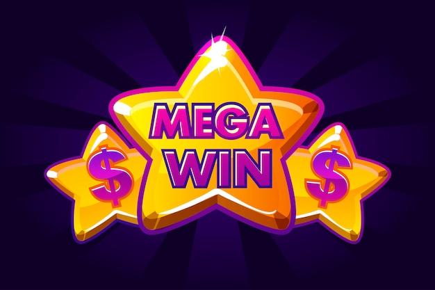 Mega win banner achtergrond voor online casino, poker, roulette, gokautomaten, kaartspellen. pictogram gouden sterren.