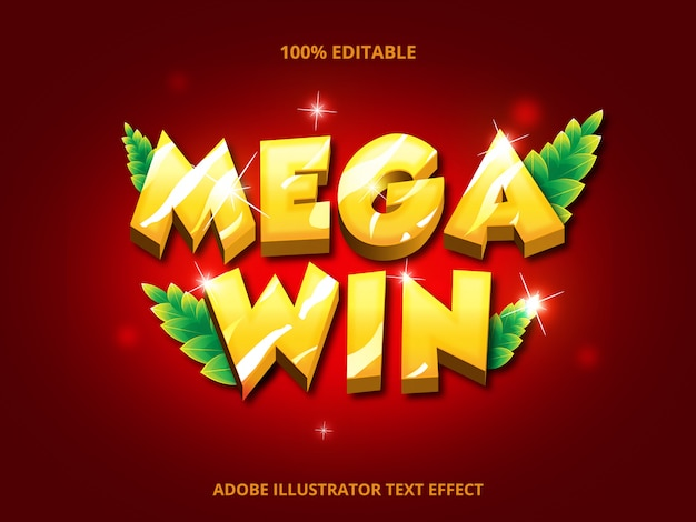 Mega win tekst, bewerkbaar lettertype-effect