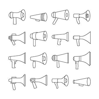 Megafoon, aankondiging, luidspreker, dunne lijn vector iconen