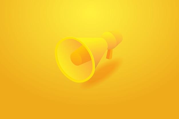 Megafoon bij gele achtergrond en megafoon van de bevorderingsreclame