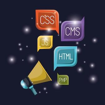 Megafoon en dialoogvenster met taalcodes voor webprogrammering
