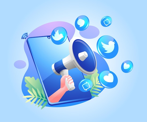 Megafoon en twitter social media iconen