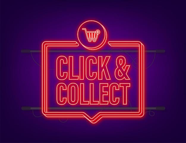 Megafoon klik en verzamel neonbanner. platte stijl. website vector pictogram. vector voorraad illustratie.