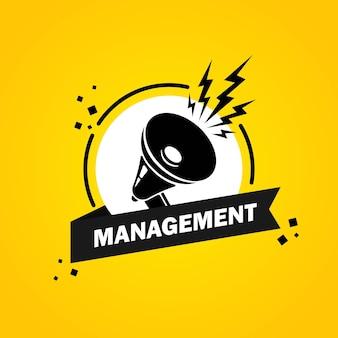Megafoon met de bellenbanner van de beheerstoespraak. luidspreker. label voor business, marketing en reclame. vector op geïsoleerde achtergrond. eps-10.
