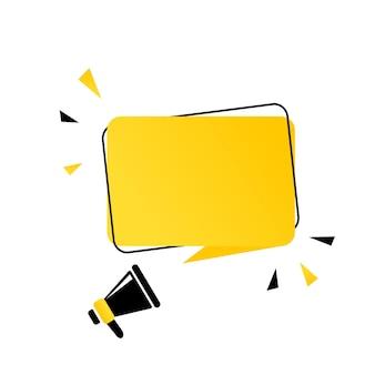 Megafoon met lege tekstballon banner. luidspreker. kan worden gebruikt voor zaken, marketing