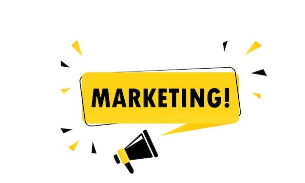 Megafoon met marketing toespraak bubble banner. luidspreker. kan worden gebruikt voor zaken, marketing en reclame. vectoreps 10. geïsoleerd op witte achtergrond.