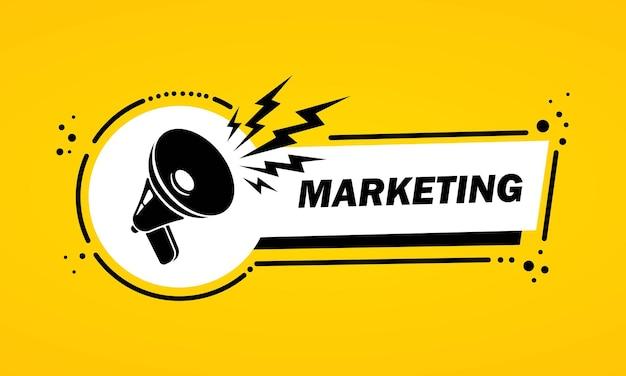 Megafoon met marketing toespraak bubble banner. luidspreker. label voor business, marketing en reclame. vector op geïsoleerde achtergrond. eps-10.