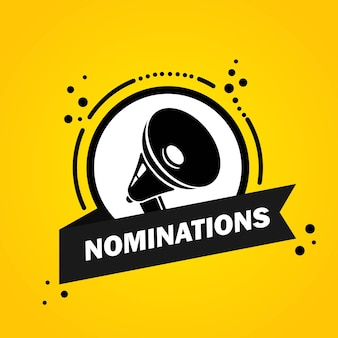 Megafoon met nominaties toespraak bubble banner. luidspreker. label voor business, marketing en reclame. vector op geïsoleerde achtergrond. eps-10.