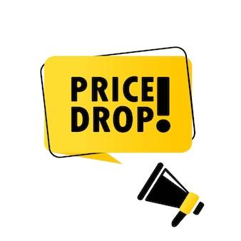 Megafoon met prijsdaling tekstballon banner. luidspreker. kan worden gebruikt voor zaken, marketing en reclame. vector eps 10. geïsoleerd op witte achtergrond