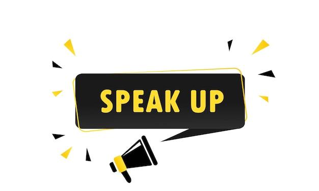 Megafoon met speak up tekstballon banner. luidspreker. kan worden gebruikt voor zaken, marketing en reclame. vectoreps 10. geïsoleerd op witte achtergrond.