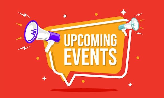 Megafoon met tekstballon en aankondiging van aankomende evenementen