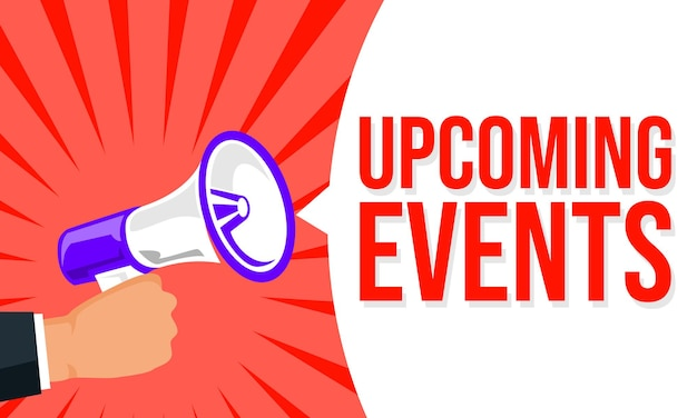 Megafoon met tekstballon en aankondigingsbanner voor aankomende evenementen