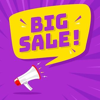 Megafoon met tekstballon en grote verkoopaankondiging