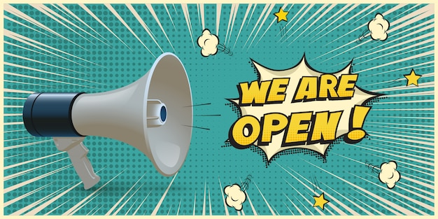 Megafoon met we are open-tekst op retro pop-artstijl