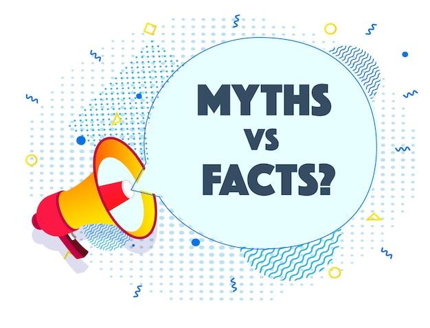 Megafoon rapport mythen vs feiten realistische stijl op halftoon achtergrond vector illustratie eps