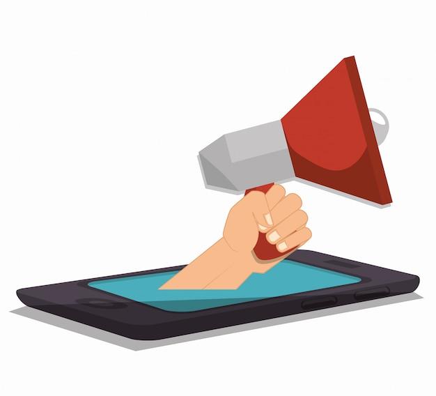 Megafoon smartpthone hand sociale media geïsoleerd ontwerp