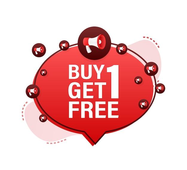 Megafoonbanner, bedrijfsconcept met tekst buy 1 get 1 free. verkoop label. vector voorraad illustratie.