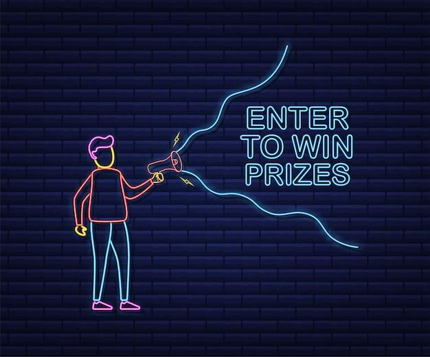 Megafoonhand, bedrijfsconcept met tekst enter om prijzen te winnen. neon-stijl. vector voorraad illustratie.