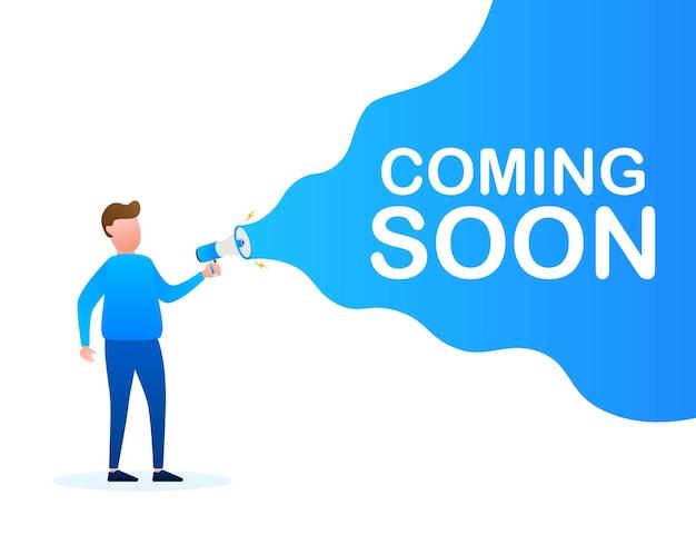 Megafoonlabel met binnenkort beschikbaar. megafoon banner. webdesign. vector stock illustratie