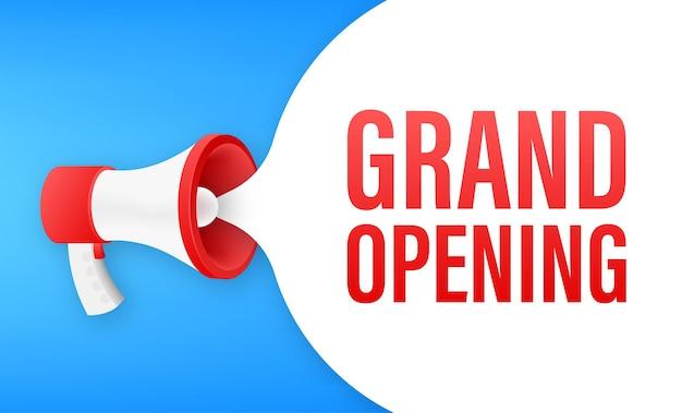Megafoonlabel met grootse opening. megafoon banner. webdesign. vector voorraad illustratie.
