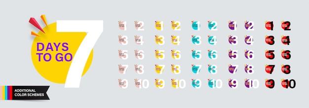 Megaset aantal resterende dagen in moderne platte stijl met extra kleurenschema's voor verkoop en promotie.