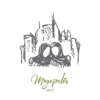 Megopolis illustratie in de hand getekend
