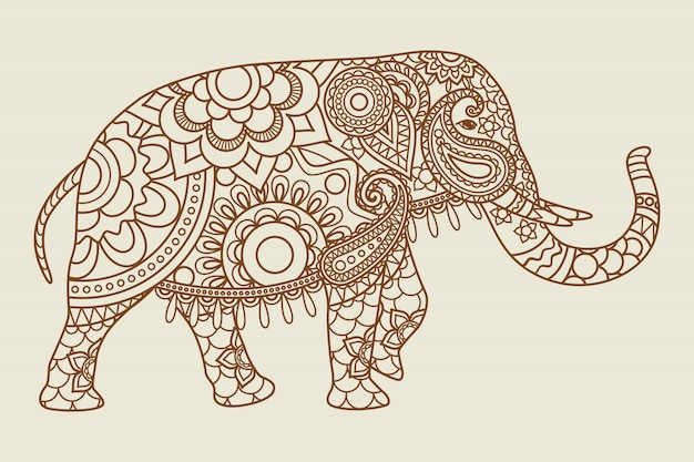 Mehendi indiase olifant pictogram vintage kleuren