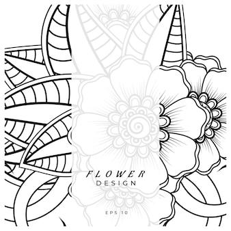 Mehndi bloem decoratief ornament in etnische oosterse stijl doodle ornament schets hand tekenen