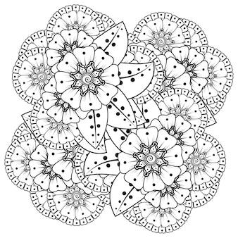 Mehndi bloem in etnische oosterse stijl doodle ornament overzicht hand tekenen illustratie kleurboek pagina