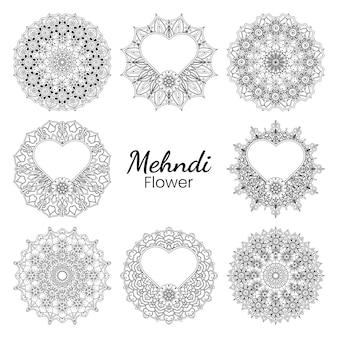 Mehndi bloem in etnische oosterse stijl doodle ornament overzicht hand tekenen illustratie kleurboekpagina