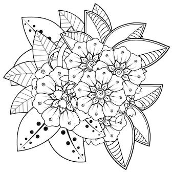 Mehndi bloem in etnische oosterse stijl doodle sieraad overzicht hand tekenen illustratie kleurboek pagina
