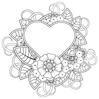 Mehndi bloem met frame in de vorm van een hart in etnische oosterse stijl doodle ornament kleurboek pagina